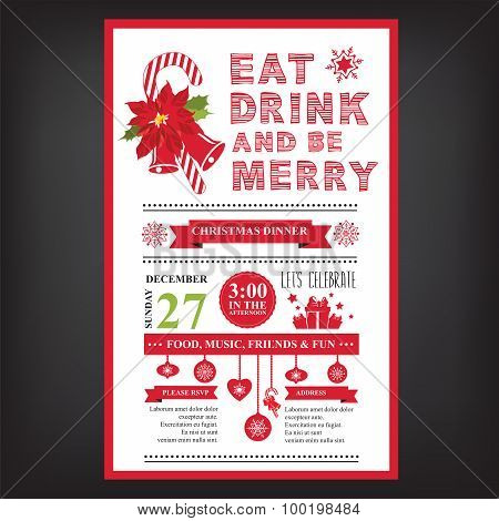 Christmas Restaurant Poster.Christmas Restaurant And Party Menu Invitation Poster