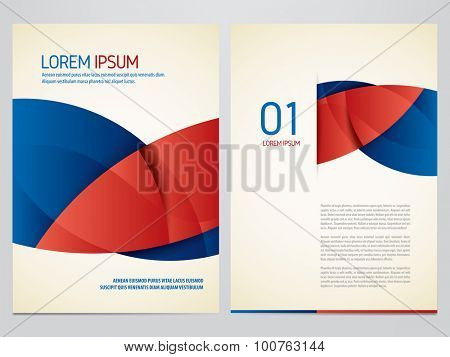Vector Blue And Red Brochure Annual Report Flyer Magazine
