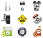image of internal combustion  - Set of the car repair and maintenance related icons - JPG