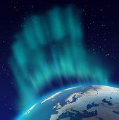 image of northern hemisphere  - Huge northern lights aurora borealis over planet Earth northern hemisphere - JPG