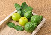Постер, плакат: Fresh Kaffir Lime With Lemon Lime On Wooden Tray