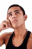 Young And Handsome Latin Man, With Hand Holding The Face - Thinking, Isolated On White, Studio Shot
