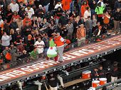 Philadelphia Phillies Vs. San Francisco Giants Mascot Fight On Top Of The Dugout During Innings