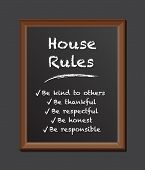 house rules chalk board poster