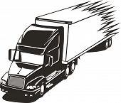 Speeding Big Rig Truck In The Highway