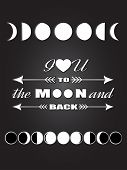 Постер, плакат: Moon Phases Inspirational quote Love quote lettering I love you to the moon and back