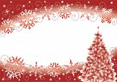 Snowflakes And Christmas Tree Winter Abstract Background