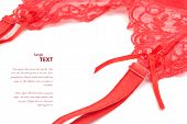 foto of garter-belt  - Garter belt over white with empty space for your text - JPG
