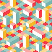 Colorful Isometric Seamless Pattern poster