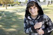 Teenage Boy With School Backpack