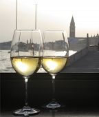 The Campanile Di San Marco And Canal, Venice Through Wine Glasses