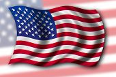 stock photo of usa flag  - usa flag waving in the wind  - JPG