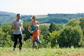 Family doing sports - jogging