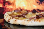 Pizza By Clay Oven, Closeup With Copy Space