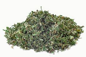 pic of seed bearing  - Dried hemp leaves and seeds in a white background - JPG