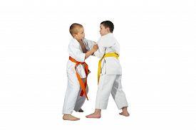 stock photo of judo  - Techniques Judo in performing athletes in judogi - JPG