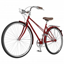 image of pedal  - Classic vinous bike frame with chrome pedals isolated - JPG