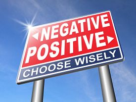 picture of think positive  - positive thinking or think negative positivity or negativity optimistic or pessimistic look at sunny side of life attitude road sign arrow - JPG