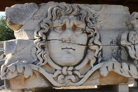 stock photo of medusa  - Medusa in Temple of Apollo Didim Turkey - JPG