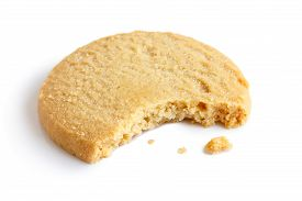 foto of shortbread  - Single round shortbread biscuit with crumbs and bite missing - JPG