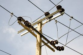 image of transformer  - Electric pillar with transformer in the electric network - JPG
