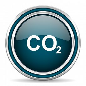 stock photo of carbon-dioxide  - carbon dioxide blue glossy web icon with double chrome border on white background with shadow    - JPG