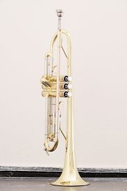 stock photo of wind instrument  - classical music wind instrument trumpet - JPG