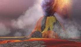 pic of magma  - Molten magma flows from an erupting volcano and smoke billows up into the sky - JPG