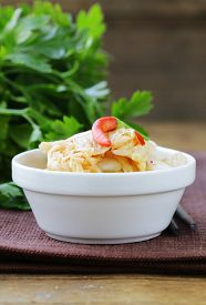 stock photo of kimchi  - traditional Korean spicy taste pickled cabbage  - JPG