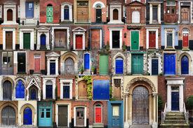 stock photo of front door  - Composite image of various doors around the Historic city of Norwich norfolk england - JPG