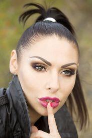 picture of hush  - Portrait of sensual pretty brunette woman with bright make - JPG