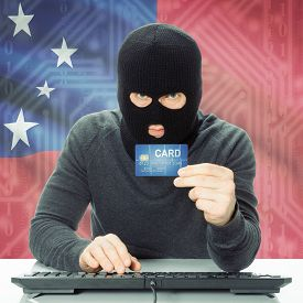 picture of samoa  - Cybercrime concept with flag on background  - JPG