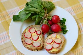 image of radish  - Slices of radish on cereal bread and bunch of radishes - JPG