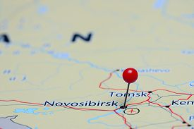 foto of novosibirsk  - Photo of pinned Novosibirsk on a map of Asia - JPG