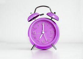 picture of analog clock  - Purple analog retro twin bell alarm clock - JPG