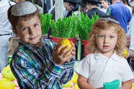 foto of sukkot  - The Jewish holiday of Sukkot. Cute little boy with long blond hair in  knitted skullcap and  seven year old boy in white skullcap with etrog. They stand  on a pre-holiday market in Jerusalem.    - JPG