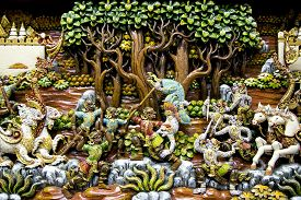 picture of mural  - Section of an ancient mural wood carving art from Thailand - JPG