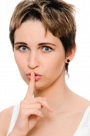 stock photo of hush  - Secret woman - JPG