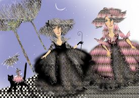 pic of fancy mouse  - two ladies in historic costumes standing outside a mouse in a pink dress is riding a cat raster illustration over a blue background children illustration - JPG