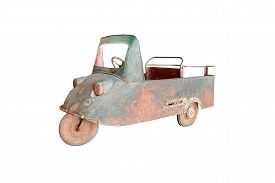 stock photo of pedal  - Antique Pedal Car isolated on white background Childhood - JPG