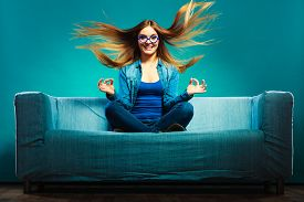 stock photo of denim wear  - Fashion young woman in full length - JPG