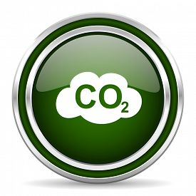 foto of carbon-dioxide  - carbon dioxide green glossy web icon modern design with double metallic silver border on white background with shadow for web and mobile app round internet original button for business usage  - JPG