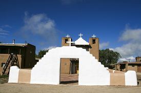 picture of pueblo  - San Geronimo Chapel in Taos Pueblo USA - JPG