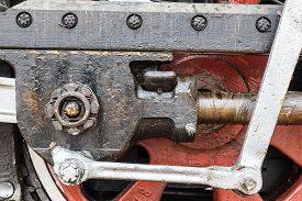 picture of train-wheel  - wheel detail of a vintage russiam steam train locomotive - JPG