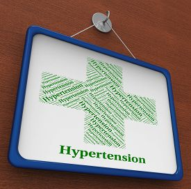 stock photo of hypertensive  - Hypertension Word Showing High Blood Pressure And Ill Health - JPG