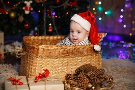 pic of new years baby  - Little Baby Boy in Santa hat sitting in a wicker basket. New Year and Christmas concept