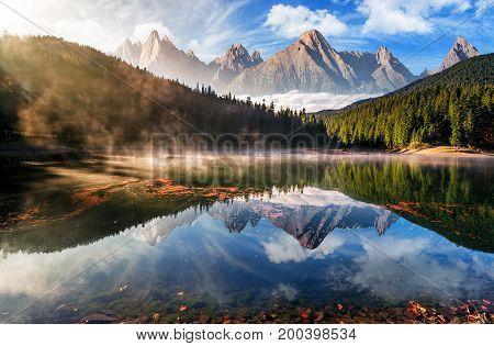 poster of Gorgeous Mountain Lake In Autumn Fog