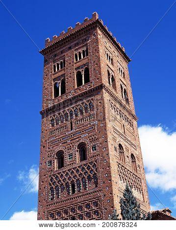 poster of San Salvador church tower (Mudejar Tower) 1277-1315 Teruel Teruel Province Aragon Spain Western Europe.