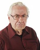 pic of bifocals  - Closeup portrait of a very grumpy senior man - JPG