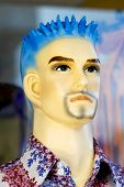 Male Mannequin With Blue Hair